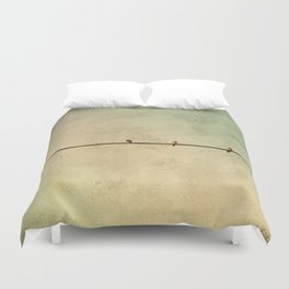 Sparrows on Wire Duvet Cover
