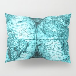 Turquoise Antique World Map Pillow Sham