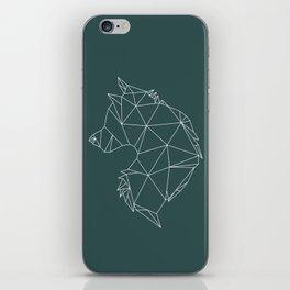 Geometric Wolf (White on Slate) iPhone Skin
