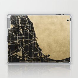 Chicago Black and Gold Street Map Laptop & iPad Skin