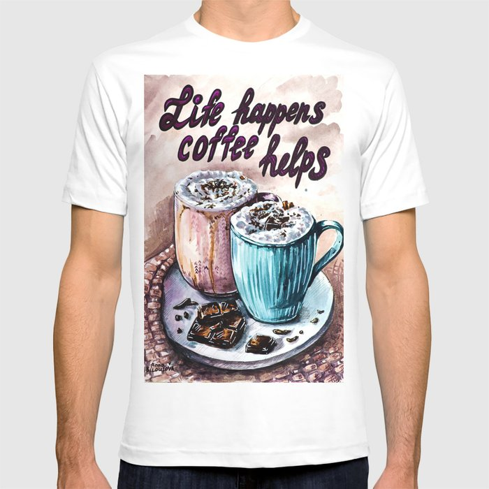 Coffee Watercolor Art Graphic T-shirt by Belka - White - MEDIUM - Mens Fitted Tee
