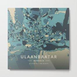 Ulaanbaatar, Mongolia - Cream Blue Metal Print
