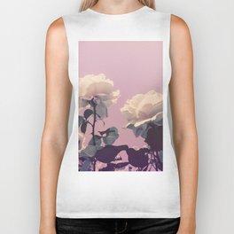 Vintage Spring Pearl White Roses Lavender Sky Biker Tank