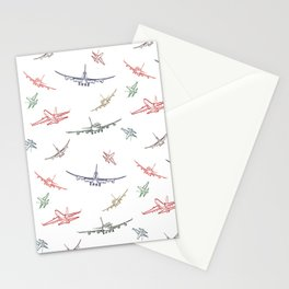 Colorful Plane Sketches Stationery Cards