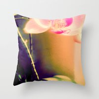 orchid Throw Pillows featuring orchid by Eva Lesko