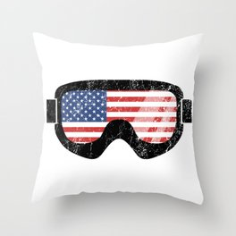 American Goggles - Distressed Black | Goggle Designs | DopeyArt Throw Pillow