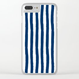 Navy and White Cabana Stripes Palm Beach Preppy Clear iPhone Case