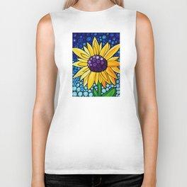 Basking In The Glory - Big bold beautiful yellow sunflower by Labor Of Love artist Sharon Cummings. Biker Tank
