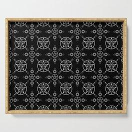 Baphomet Pentagram Pattern - White/Black Serving Tray