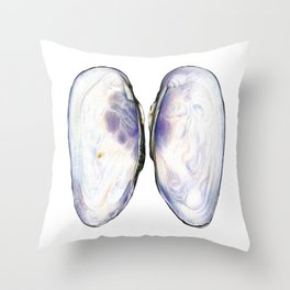 Thick Shelled River Mussel (Unio crassus), inner side Throw Pillow