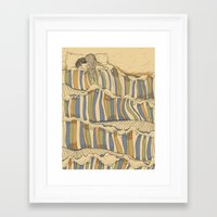 swimming Framed Art Prints featuring Ocean of love by Huebucket