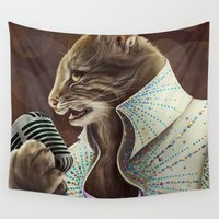 elvis Wall Tapestries featuring Elvis Petme by Christina Hess