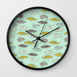 Cute Crocodiles Wall Clock