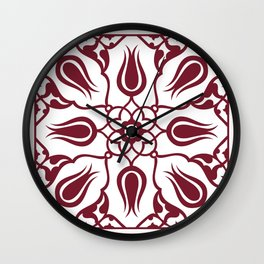 Red Turkish Traditional Floral Tile Art Wall Clock