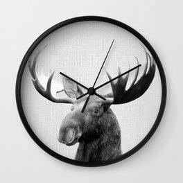 Moose - Black & White Wall Clock