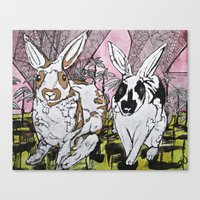 bunny Canvas Prints featuring Bunny by Dawn Patel Art