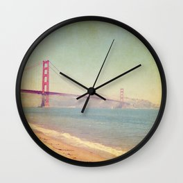 A Golden Day at the Beach Wall Clock