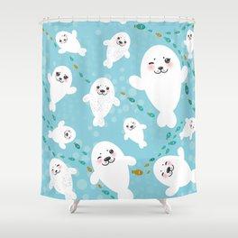 Funny albino white fur seal pups, cute kawaii seals Shower Curtain