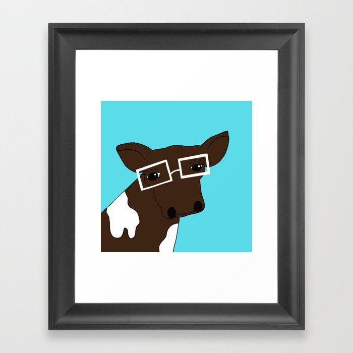 Matilda the Hipster Cow Framed Art Print