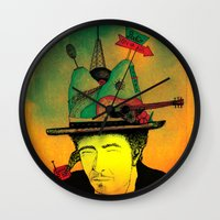 dylan Wall Clocks featuring dylan by Mariana Beldi