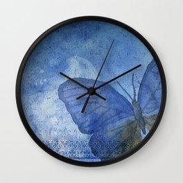 Inky Butterfly Deep Blue Shabby Wall Clock