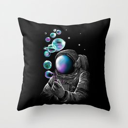 Astronauts and Bubble World Throw Pillow