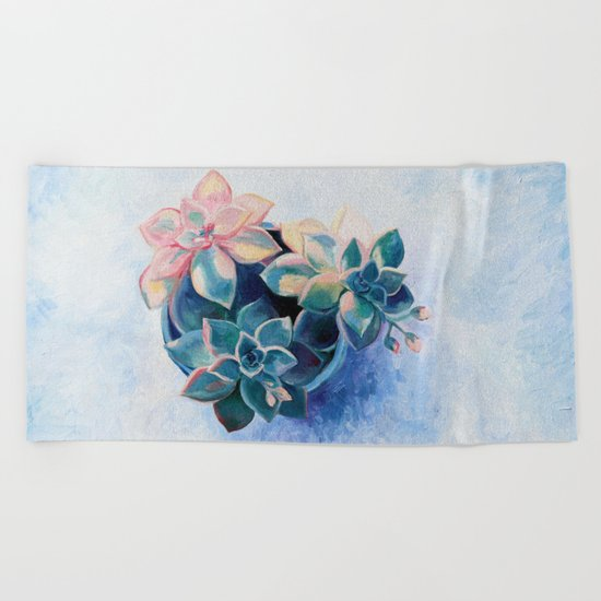 Pastel Succulents - an oil painting on canvas Beach Towel