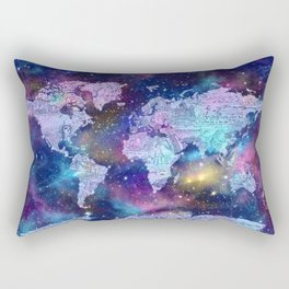 world map galaxy purple Rectangular Pillow