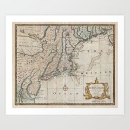 Vintage Map of The New England Coast (1747) Art Print