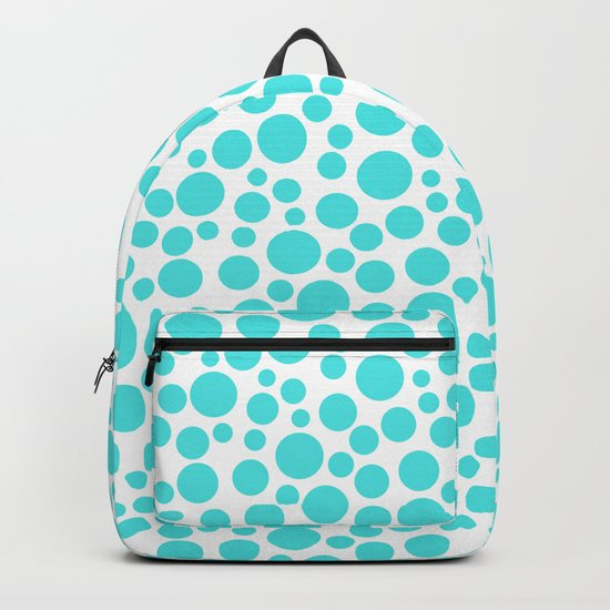 Turquoise polka dots on a white background . Backpack