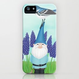 gnome with cerulean warbler and grape hyacinths iPhone Case