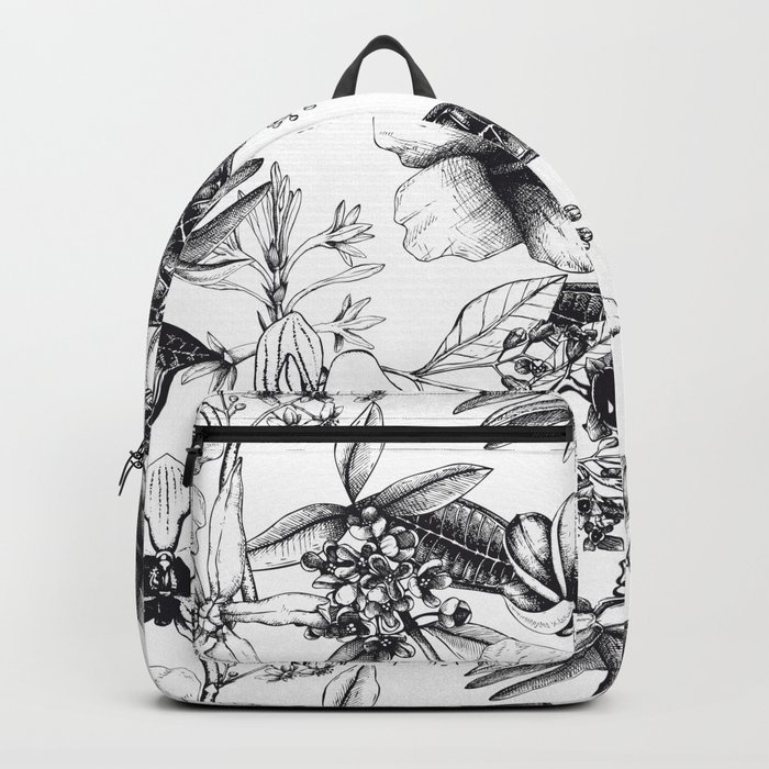Black and White Vintage Tropical Flowers Pattern Backpack