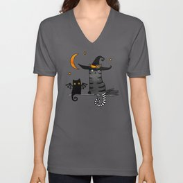 2 cats – Bat and Wizard on a broomstick for Halloween Unisex V-Neck