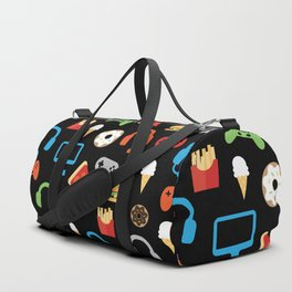 Video Game Party Snack Pattern Duffle Bag