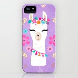Cute Happy Llama - Purple Boho Alpaca with Flowers iPhone Case