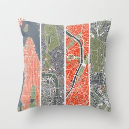 Six cities: NYC London Paris Berlin Rome Seville Throw Pillow