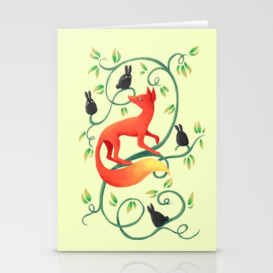 Bunnies and a Fox Stationery Cards