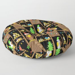 Chicken Coop Christmas - by Kara Peters - funny chickens, holidays Floor Pillow