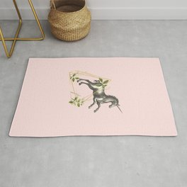 UNICORN JUMPING OVER AN OBSTACLE  Rug