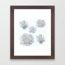 Blue Succulents Framed Art Print