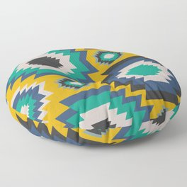 Ethnic in blue, green and yellow Floor Pillow