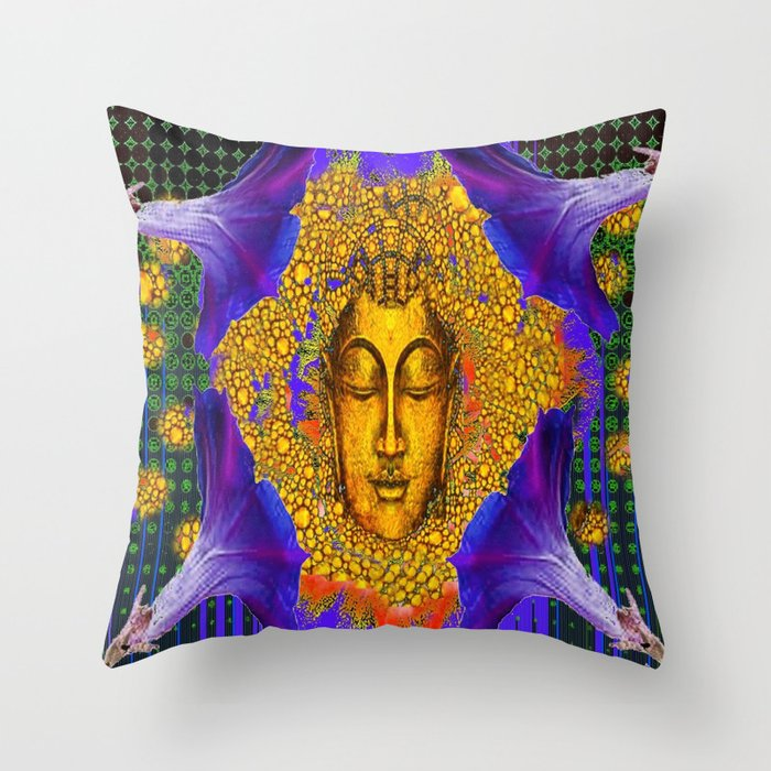 PURPLE MORNING GLORY GOLDEN BUDDHA FACE Throw Pillow