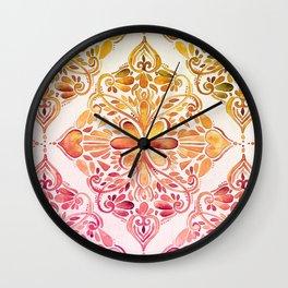Sunset Art Nouveau Watercolor Doodle Wall Clock