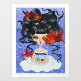Pop-eyed Goldfish Art Print