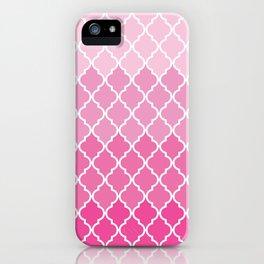 Ombre Moroccan Trellis, Latticework - Pink White iPhone Case