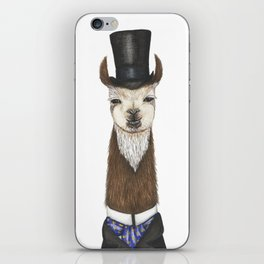 Llama gent in a top hat and duck cravat iPhone Skin