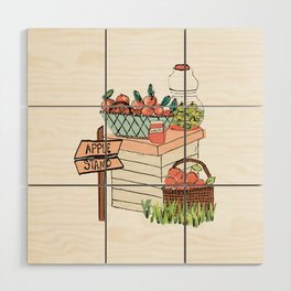Apple Stand Wood Wall Art