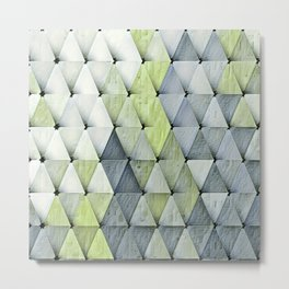 Textured Triangles Lime Gray Metal Print