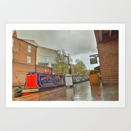 Canal Boat at the Waters Edge  Brindley Place Art Print