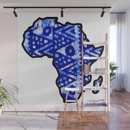 Blue tribal Africa Map Wall Mural